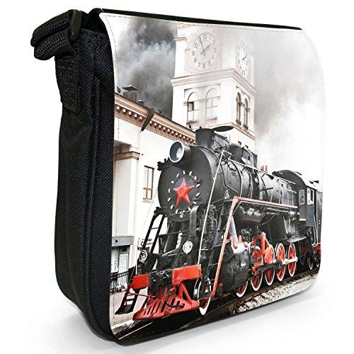 Treni a vapore-Borsa a tracolla in tela, piccola, colore: nero, taglia: S Old Steam Train At Station