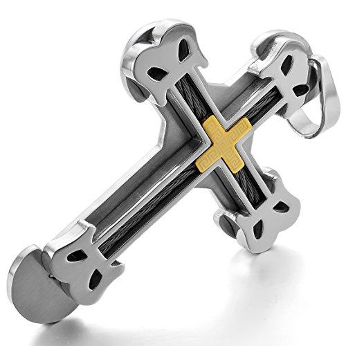 Inblue Herren Schwere groß Edelstahl Anhänger Halskette Gold Silber Zwei Ton griechischen Kreuz Kabel–mit 58,4cm Kette von ()