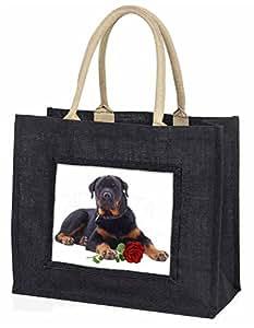 Advanta Rottweiler Hund mit eine rote Rose Große Einkaufstasche Weihnachtsgeschenk Idee, Jute, schwarz, 42x 34,5x 2cm