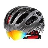 Netspower® 2016 Nuovo Tipo Casco Bicicletta Caschi Ciclismo Caschetto MTB Bici con Gli Occhiali Ridimensionabile 56-62cm Unisex -BC010 grigio