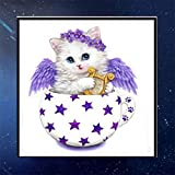 SHIJIANDE 5D Vollbohrer Diamant Malerei Foto Stickerei Cartoon Katze Engel Strass Kreuzstich Kunsthandwerk für DIY Home Wanddekoration