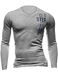 Hommes Pull-over Manches Longues Col V Lettres Impressions Slim Fit T-Shirts
