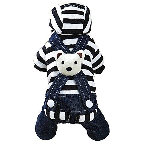 Bt Kinder-overalls (zoonpark® Hund Pyjama Kleidung, Lovely Bär gestreift Denim Overalls Weiche Baumwolle Pet Pyjama Teddy Chihuahua Pets Vier-Beiner Katze Hund Puppy Jumpsuit Rock Denim Kleidung Bekleidung)