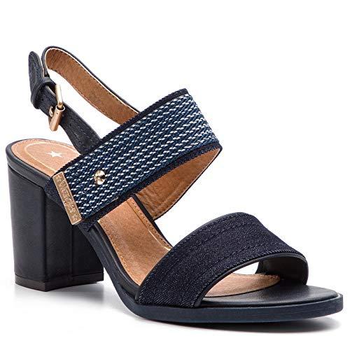 Sandalo con Tacco in Tessuto Multicolore da Donna Blu con Fibbia e Suola in Gomma WL91631A. Scarpe in Tessuto Primavera Estate 2019.EU 38