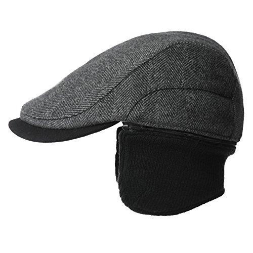 SIGGI Herren Wolle warme Schirmmütze mit Ohrenschutz Winter Earflap Cap Schwarz L