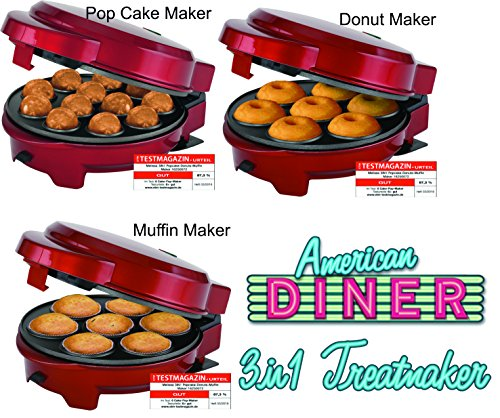 Melissa 3 in1 Donut Muffin y piruletas de Maker 3 placas intercambiables Back, color rojo metálico