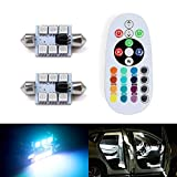SHINFOK LED-Soffittenlampe, 41 mm, je 6 RGB 5050 SMD-LEDs, Premium-Qualität, Stroboskop-Funktion, Innenbeleuchtung für Autos, 2 Stück, mit Fernsteuerung mit 24 Tasten