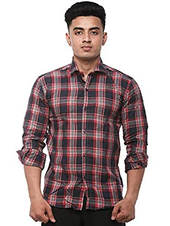 JPF Smart Men's Cotton Regular Fit Formal Shirt for Men Casual Full Sleeves Shirt for Men/Cotton Checkered Short Sleeve Shirts for Men Red Checked Shirts boy