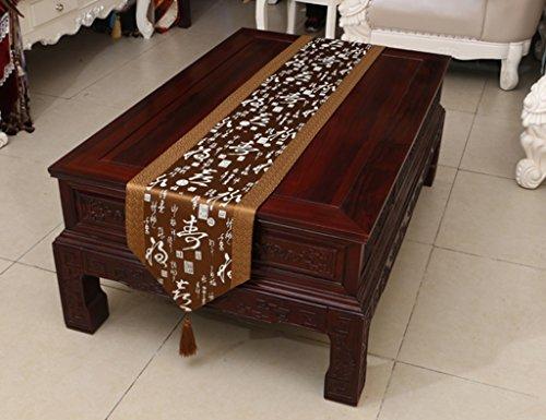 QiangZi Table Runner Chinois Classique Kaki Brocade Piano Meuble À Chaussures Nappe Usage Napperon, 33 * 230CM ( Couleur : Khaki1 , taille : 33*300CM )