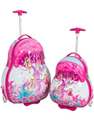 Kinder Koffer set Elfen 2 tlg.Polycarbonat Hartschale Reisekoffer Trolley Case Bowatex