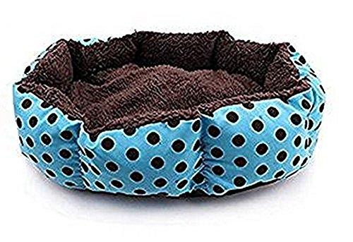 Cdet Cama para mascotas redonda o de forma oval dimple fleece nesting perro cueva para gatos y perros pequeños lavable cama de peluche,Azul