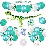 54pezzi Dinosaur Birthday Party Deco Blue per ragazzi Set: 1 banner di ghirlanda di buon compleanno dinosauro,50 palloncini in lattice e coriandoli per 1.3.5.7.9.10 Boy Kids Birthday Dino Party