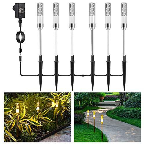 Gartenbeleuchtung B-right 6er Set Gartenleuchte mit Erdspieß, Außenleuchte mit Stecker, Landschaftslicht Wegleuchte Gartenlampe mit Kabel, 360lm, 2700K, IP65 Wasserdicht Außenbeleuchtung für Outdoor -