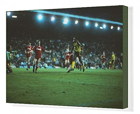 Canvas Print of Michael Thomas scores his title-winning goal at Anfield in 1989