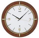 AMS 5832 Wanduhr Funk Modern Holz Nussbaum