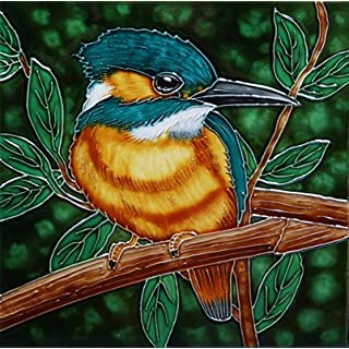 The Noble Kingfisher Bird a Benaya ceramic art tile coasters as if they are alive with detail bold colours a perfect decorative wall tile gift purchase