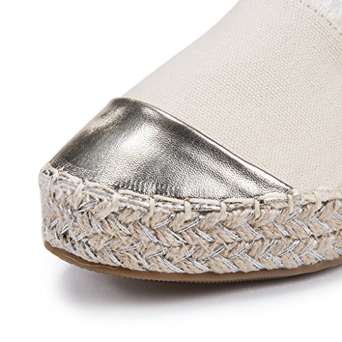 AgeeMi Shoes Femme Espadrille A Enfiler Plat SurpiqûRes Chaussure Baskets Beige