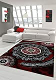 Traum Moderner Teppich Designer Teppich Orientteppich mit Glitzergarn Wohnzimmer Teppich mit Klassisch Orientalischen Kreis Ornamente in Rot Schwarz Creme Größe 160x220 cm