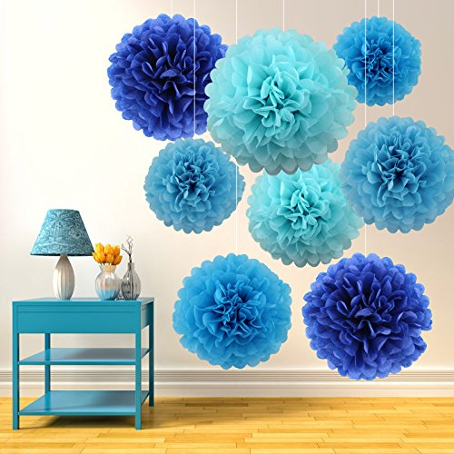 15pcs-assored-blue-10-14-large-hanging-tissue-paper-pom-poms-paper-flower-for-anniversary-wedding-pa
