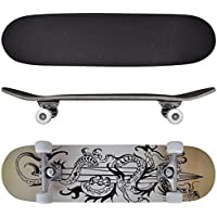 "vidaXL 9 Ply Maple 8"" Skateboard Complete Skate Board Skating Skateboard 4 Design"