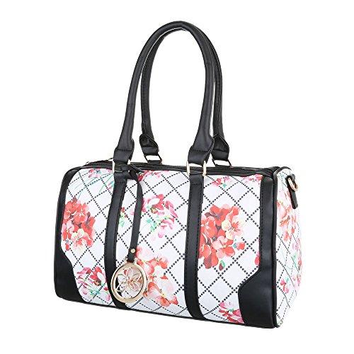 iTal-dEsiGn Damentasche Mittelgroße Schultertasche Handtasche Tragetasche Kunstleder TA-XD8539 Weiß Rot