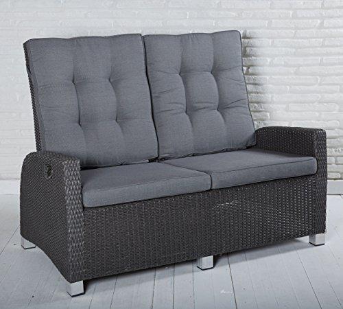 Wholesaler GmbH Gartensofa 2 Sitzer Rocking in grau mit Auflagen und einzeln verstellbaren Rückenlehnen für Garten, Terrasse oder Balko - Gartenmöbel Zweisitzer Loungemöbel Sofa Couch Lounge