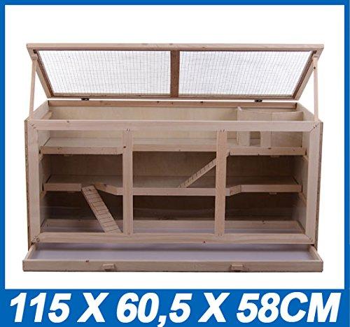 Outsunny - Gabbia Criceto in legno Animali Piccoli Roditori - 115x60x58cm