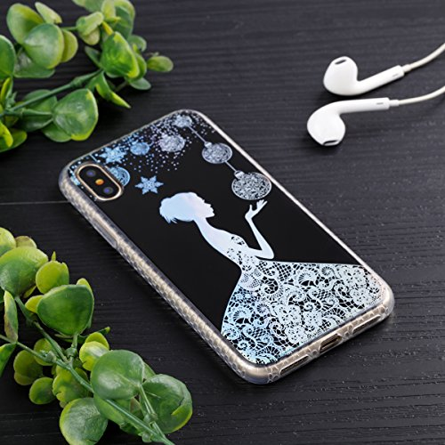 Cover Apple iPhone X, Voguecase Custodia Silicone Morbido Flessibile TPU Custodia Case Cover Protettivo Skin Caso in IMD design (fiore Skull 06) Con Stilo Penna Nero-Lady 14