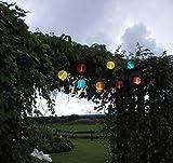 Zauberhafte Party SOLAR Lampion Lichterkette - Gesamtlänge ca. 440 cm - ideal zur Beleuchtung von Pflanzen, Pergola , Mauern , Pavillon , Bäumen und Büschen - LED SOLAR LICHTERKETTE mit 10 LED - Lampen und 10 bunten Lampions - mit einem Solar - Panel mit Dämmerungsensor - Solar Energy - Für den Innen - und Außen - Bereich geeignet - OUTDOOR - aus dem KAMACA-SHOP
