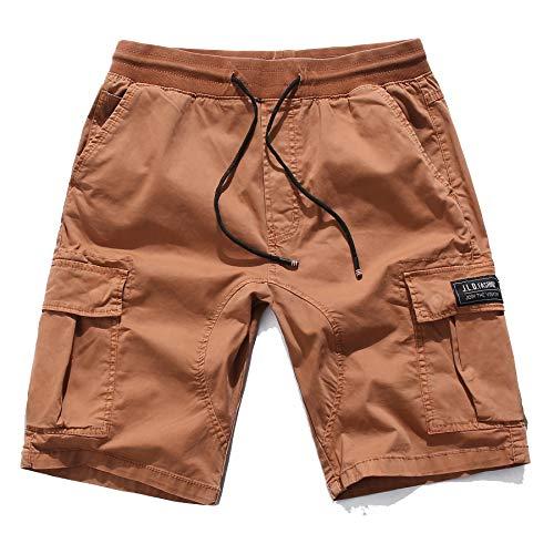 KEFITEVD Herren Kurz Hose Sommer Elastisch Bund Freizeit Shorts Anti-Schrumpfen Urlaub US Ranger Hose Army Stil Militär Shorts Orange 52/L (Etikett 36) -