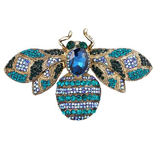 EVER FAITH® Gold-Ton RhinesTon Kristall Biene Insekt Brosche lila (Und Lila Gold Modeschmuck)