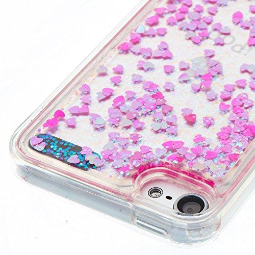 Cover iPod touch 6 Custodia iPod touch 5 Silicone Sabbie Mobili Leton Morbido TPU Gel Liquido Fluttuante Case per iPod touch 6 / 5 (4.0 pollici) Ultra Sottile Flessibile Satinato Gomma Caso Anti Graff Amante Cuore Rosa