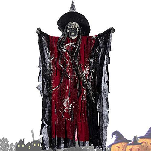 Oceanheart Halloween Decoracion Terror Eléctrico Colgante Fantasma Control de Voz Cabeza de Esqueleto de Broma (Rojo)