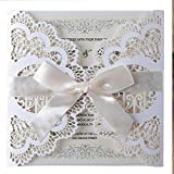 LORTAL 50X Weiß Laser Cut Hochzeitseinladungskarten Mit Liebe Vögel Floral Lace Band Verlobungseinladungen für Braut Baby Shower Birthday Party