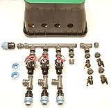 Ventilbox in Einzelteilen zum selber montieren mit 3 x Hunter Elektromagnetventil PGV 101 (3 Zonen), mit 25mm (3/4