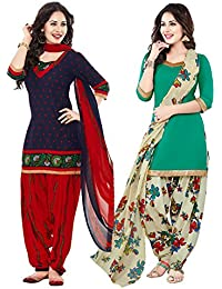 ishin Combo of Women's Printed Unstitched Synthetic Anarkali Salwar Suit Dress Material with Dupatta (Combodm-331, Multicolour, Free Size)