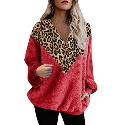 yazidan Damne Oberteile mit Leopardmuster, Casual Langarm T-Shirt V-Ausschnitt Hemd Mode Basic Tee Herbst Winter