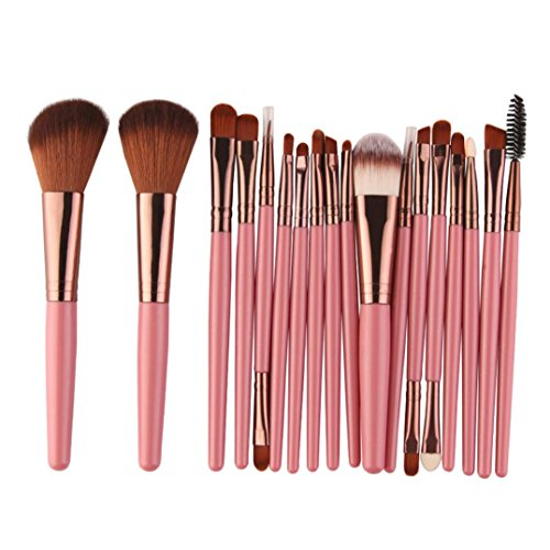 Soundly Makeup Brushes, SamMoSon 18 Pcs Professional Makeup Brush Set Foundation Powder Lip Eyebrow Make-up Toiletry Kit Wool Make Up Brush Set (Pink)