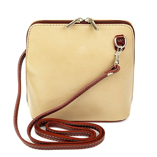 Beige Bag Frauen Braun Handtaschen Echt Plain Damen Leder Italien Ital Dunkel Schultertasche Handtasche Vera Pelle Tasche Y6xTqO