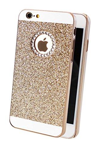 iPhone 6 6s Edel Glitzer Bling Elegant Tasche Handy Hülle Schutzhülle Hard Case Rückseite Back Cover mit Diamant Strass-Steine in Gold (Bling Tasche)