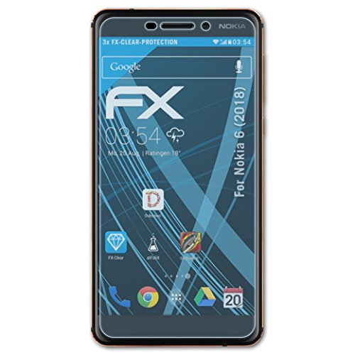 atFolix Schutzfolie kompatibel mit Nokia 6 (2018) Folie, ultraklare FX Bildschirmschutzfolie (3X)