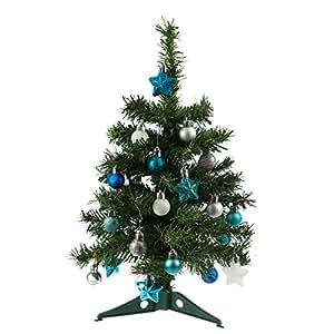 weihnachtsbaum geschmuckt blau silber frohe weihnachten in europa. Black Bedroom Furniture Sets. Home Design Ideas