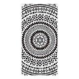 Telo Mare 100% Microfibra Morbido, Etnico Indiano Mandala Stampa, 80x160cm, Asciugamano da Spiaggia Viaggio Piscina, Teli Bagno Assorbente per Bambina & Adulto - Bianco Nero