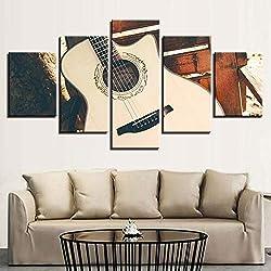 Toile Murale HD Imprimer Image décoration de la Maison Salon 5 Vintage Guitare Folk Cordes Peinture modulaire Affiche de la Musique