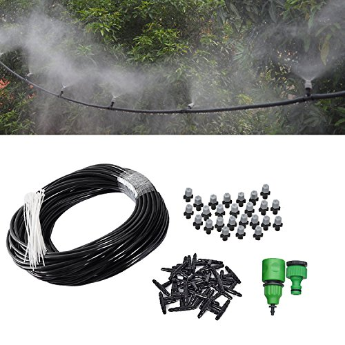 Himifuture 82FT Mist Cooling System with 25PCS Plastic Mist Nozzles For Outdoor Lawn Patio Garden Greenhouse