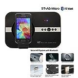 STElectronic ST-A5: 10 Watt Musiksystem für Samsung J3 J5 J7 S4 S5 S3 S2 S6 S7 S7 Edge (A3 A5 2016) A6 Alpha K Zoom Pocket. Micro USB Bluetooth Lautsprecher Fernbedienung Soundsystem - schwarz