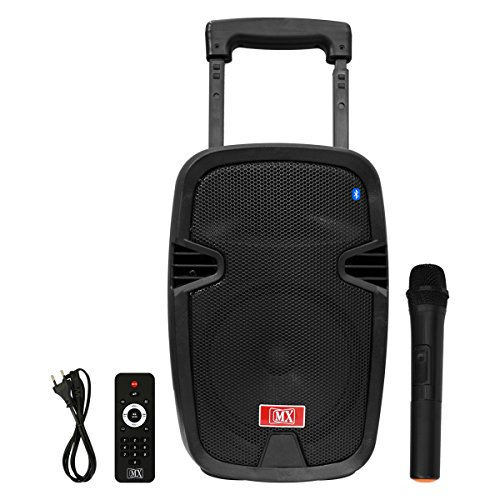 MX 8inch Multimedia Speaker Trolley with Bluetooth USB Aux Input and Wireless Microphone (MX 3708)