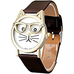 Mallom® Women Lovely Watches Cute Glasses Cat Wrist Watch Brown