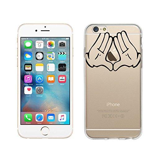 wortek Designer High Quality TPU Silikon - Case Schutzhülle Transparent mit Logo Motiv für Apple iPhone 6 / 6S (Schmetterling 1) Hände