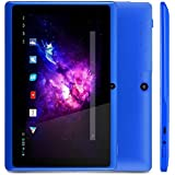 Alldaymall A88X Tablette tactile 7 pouces - Android 4.4, Quad Core, 1024x600 HD, double caméra, Bluetooth, Wi-Fi, 8GB, jeux 3D pris en charge - Bleu